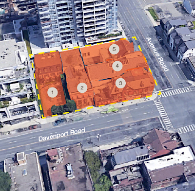 IMAGE: This assembly of five properties at the corner of Avenue and Davenport in Toronto has been acquired by Greybrook Realty Partners and Tribute Communities. (Courtesy Lennard Commercial Realty)