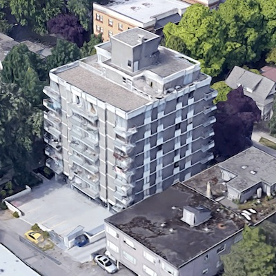 IMAGE: 1580 Haro St., in Metro Vancouver was acquired by InterRent and Crestpoint as part of a portfolio of apartment properties in the city. (Google Maps)