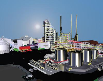 IMAGE: Artist's conception of the Varennes Carbon Recycling plant, an $875M biofuels project led by Enerkem. (Courtesy Enerkem)