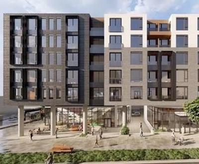 IMAGE: Nicola Wealth is proposing a 407-unit purpose-built rental project, whhich will include ground-floor retail, in the Greater Victoria District of Saanich. (Courtesy Nicola Wealth)