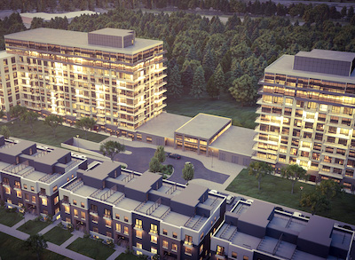 IMAGE: Bayview Hospitality Group is proposing its second multifamily development along Campeau Dr., in Ottawa. It would contain three, 10-storey towers and 184 stacked, three-storey units. (Courtesy Bayview Hospitality)