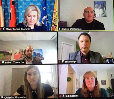 IMAGE: Participants in the ULI webinar were, clockwise from top right: Andrew Whittemore, Ben Phillips and Jodi Robillos from the City of Mississauga; Christina Giannone from Port Credit West Village Partners; Robert Trewartha from the city, and Mississauga Mayor Bonnie Crombie. (Steve McLean, RENX)