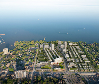 IMAGE: An aerial view of the Brightwater redevelopment planned along the Mississauga waterfront in the city just west of Toronto. (Courtesy PCWVP)