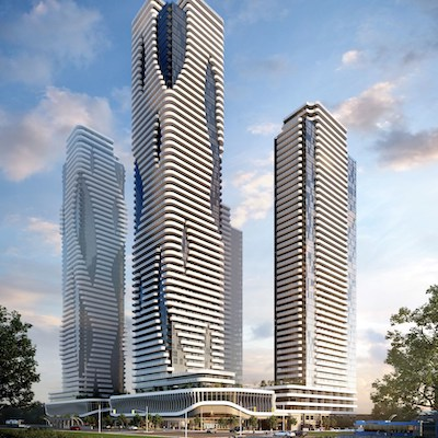 IMAGE: The Festival towers at Vaughan Metropolitan Centre, by Menkes Development and Quadreal Property Group. (Courtesy Menkes Developments Ltd.)