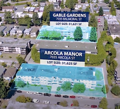 IMAGE: Two low-rise Burnaby apartment buildings sold as part of a four-property transaction by RAAMCO International. (Courtesy Avison Young)