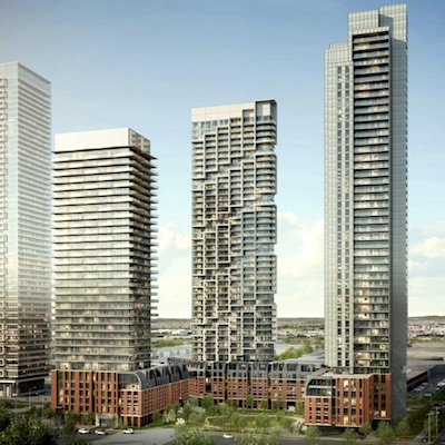 IMAGE: The Transit City condos development at SmartVMC at the Vaughan Metropolitan Centre just north of Toronto. (Courtesy SmartCentres)
