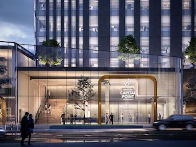 IMAGE: An artist's rendering of the entrance podium to Capital Point, a two-tower office strata project by Slate Asset Management in Burnaby, B.C. (Courtesy Slate)