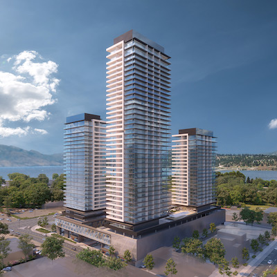 IMAGE: Water Street by the Park in Kelowna is a three-tower condo and mixed-use project by Orchard Park Properties. (Courtesy Orchard Park)