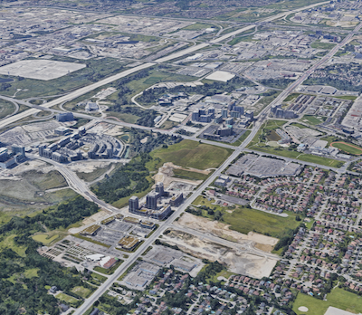 IMAGE: The City of Markham just north of Toronto is focused on creating a downtown district in its Markham Centre region. (Google Maps)