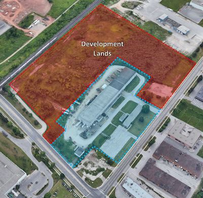 IMAGE: This industrial building and land at Speers and Bronte Roads in Oakville, west of Toronto, is part of two acquisitions by Nicola Wealth Real Estate and First Gulf. (Courtesy NWRE)