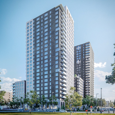 IMAGE: Lasalle's LCPF has acquired an interest in the two-tower Rideau and Chapel multifamily development at the edge of downtown Ottawa. (Courtesy Lasalle)