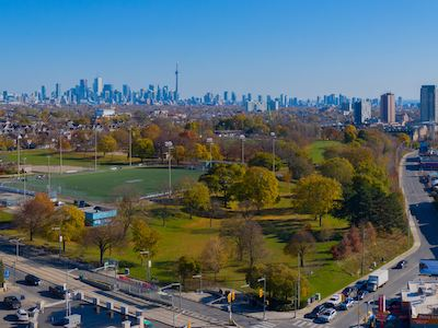 IMAGE: A drone image shows the view from 1500-1536 St. Clair Ave., a residential land assembly acquired by Distrikt Capital and Alterra in mid-town Toronto. (Courtesy Distrikt / Alterra)