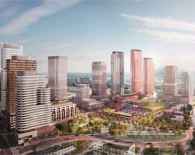 IMAGE: A view of the proposed Toronto Golden Mile redevelopment. Choice Properties REIT and The Daniels Corp. are partners on phase one of the project. (Courtesy Choice, Daniels)