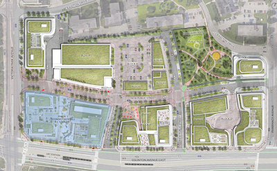 IMAGE: A view of the Toronto Golden Mile site plan. (Courtesy Choice, Daniels)