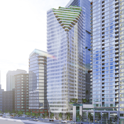 IMAGE: Reliance Properties and Hines will JV to build this 32-storey tower at 1166 West Pender in Vancouver. (Courtesy Reliance)