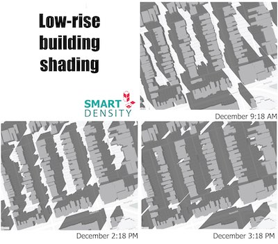 IMAGE: IMAGE: A sample shadow graphic for a low-rise building, provided by Smart Density.