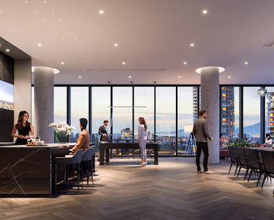 IMAGE: Central Park House features a 15,000-square-foot amenities area mid-way up the 41-storey Burnaby tower. (Courtesy Gensler/Bosa Properties)