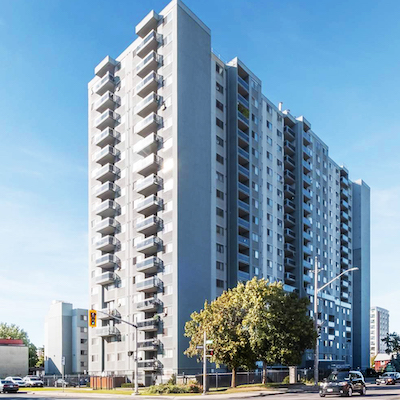 IMAGE: This apartment complex at 125 Wellington and 50 Cathcart streets in Hamilton has been acquired by the Equiton Residential Income Fund. (Courtesy Equiton)