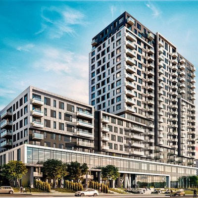 IMAGE: Developer LSR GesDev and its partner Fonds immobilier de solidarité FTQ have launched Novia, a $105 million mixed-use project in Longueuil, in Greater Montreal. (Courtesy Fonds FTQ)