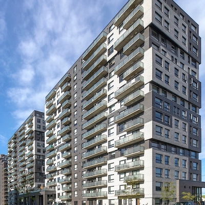 IMAGE: The Eq8 apartment complex in Montreal, owned and operated by Cogir. (Courtesy Cogir)
