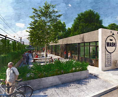 IMAGE: The Wash is a car wash being repurposed into micro-retail restaurants in Nashville, TN. (Courtesy Pfeffer Torode Architecture, Cauble Group)