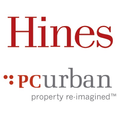 IMAGE: Hines and PC Urban logos.