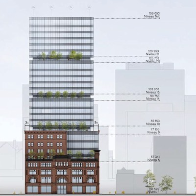 IMAGE: HBC and RioCan plan a 25-storey office building redevelopment at the site of their downtown Montreal store.