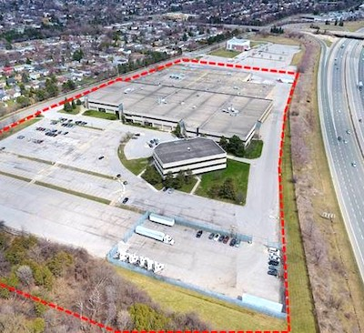 IMAGE: Nicola Wealth Real Estate has acquired this 21-ace industrial site in east Toronto. It plans to demolish the existing structures and build a new warehouse of about 350,000 square feet. (Courtesy NWRE)