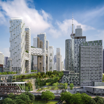 IMAGE: A rendering of the proposed Toronto ORCA Project development over a downtown railway corridor. (Courtesy orcatoronto.com)