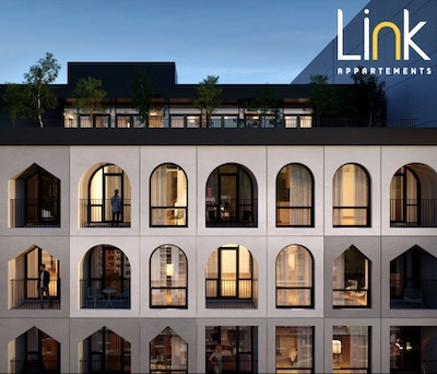 IMAGE: Link Apartments is one of two multifamily projects Brivia Group is launching in downtown Montreal. (Courtesy Brivia Group)