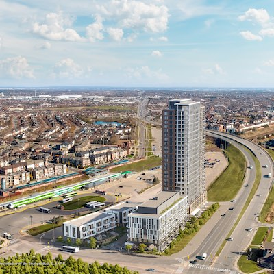 IMAGE: Choice and Daniels are partners in the Mount Pleasant Village development, adjacent to the Mount Pleasant GO Station in Brampton in the GTA. (Courtesy Choice Properties REIT)