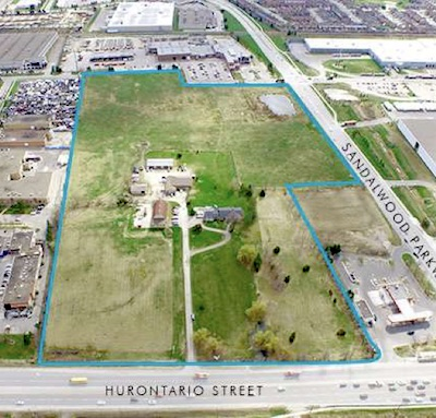 IMAGE: This 28-acre property at Sandalwood and Hurontario in Brampton, Ont., will soon be developed into twin distribution centres by Pure Industrial. (Courtesy Pure Industrial)