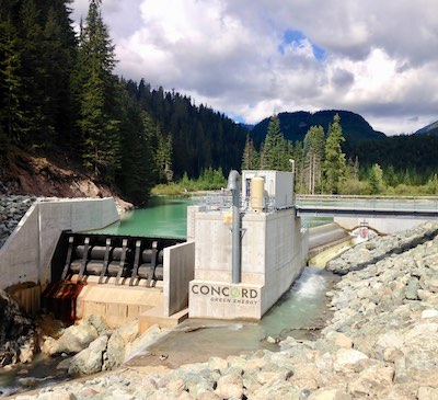 """IMAGE: This """"run-of-river"""" dam in British Columbia is part of the Concord Green Energy portfolio. (Courtesy Concord Green Energy)"""