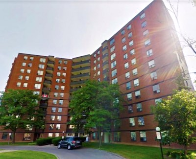 IMAGE: This 11-storey apartment building at 10 Highland Cres., in Kitchener is one of 18 buildings Starlight Investments has acquired in recent weeks. (Courtesy Starlight)