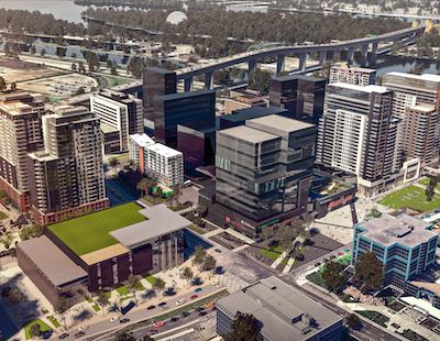IMAGE: A rendering of Devimco's $800-million development in downtown Longueuil in Greater Montreal. (Courtesy Devimco)