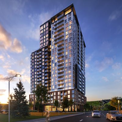 IMAGE: Devimco has broken ground on the first of two towers which will comprise the Sir Charles Condominiums at its downtown Longueuil mixed-use development. (Courtesy Devimco)