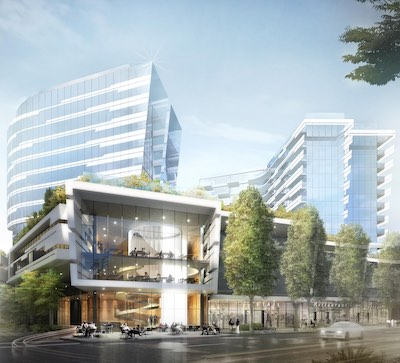 IMAGE: Landa Global has proposed a three-tower multiresidential and hotel development next to the Olympic Oval in Richmond, B.C. (Courtesy Landa Global)