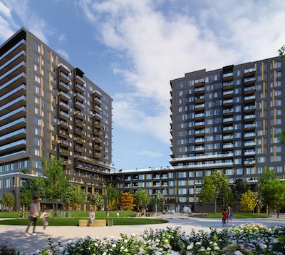 IMAGE: Realm is a two-tower, 401-unit condominium development being launched in Burlington by hometown firm Adi Development. (Courtesy Adi)