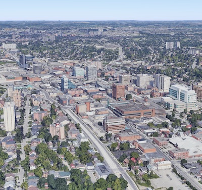 IMAGE: The City of Kitchener, located west of Toronto, has undergone a major revitalization during the past two decades, and remains a hotbed for development and innovation. (Google Maps)