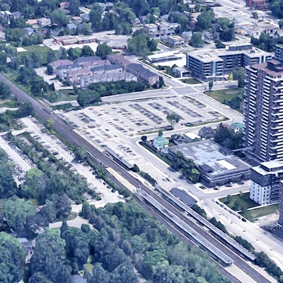 IMAGE: Edenshaw Developments and Windsor Private Capital have acquired a 1.48-acre transit-oriented development site, 30 Queen St., at the Port Credit GO station in Mississauga. (Courtesy Google Maps)