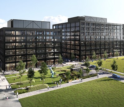 IMAGE: T3 Sterling road is a mass-timber office development being built by Hines and Hazelview Investments in Toronto. (Courtesy Hazelview)