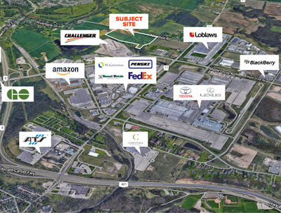 IMAGE: This industrial property in Cambridge, just west of Toronto, will be developed by Nicola Wealth Real Estate and its JV partners First Gulf and Challenger Freight. (Courtesy Nicola Wealth RE)