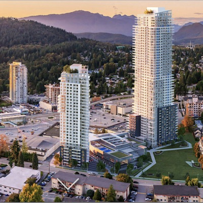 IMAGE: The Heart of Burquitlam development in Coquitlam will include the 50-storey Myriad condos, 31-storey apartment tower and a YMCA and community centre. (Courtesy Concert / MyriadbyConcert.com)