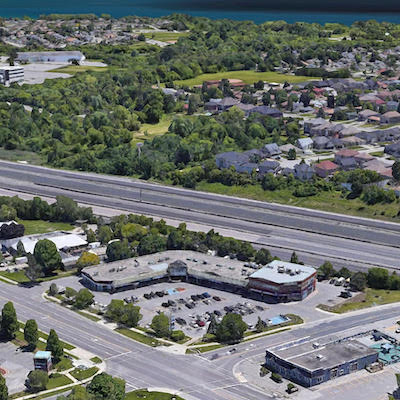 IMAGE: Decade Capital has acquired this plaza at 375 Kingston Rd., in Pickering, east of Toronto, where it is planning a two-tower residential development. (Courtesy Decade Capital)
