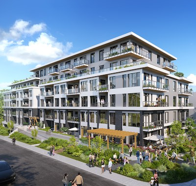 IMAGE: Wexford Development is planning this 105-unit apartment project on a site it has just acquired in Esquimalt, in Greater Victoria. (Courtesy Wexford)