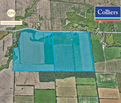 IMAGE: This tract of about 200 acres of industrial development land near Milton has sold for $165 million. (Courtesy Colliers)