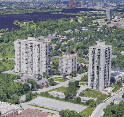 IMAGE: An aerial view of the three Island Park Towers buildings in Ottawa. (Google Maps)
