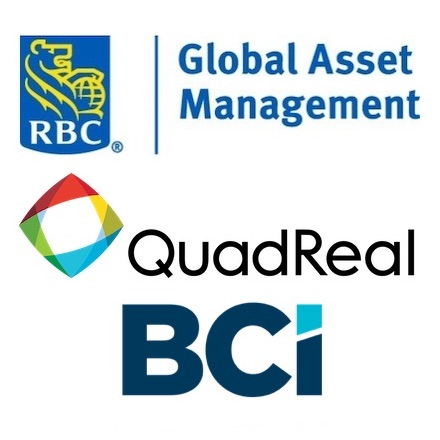 IMAGE: IMAGE: RBC Global Asset Management, Quadreal Property Group and BCI Management Corp. logos.