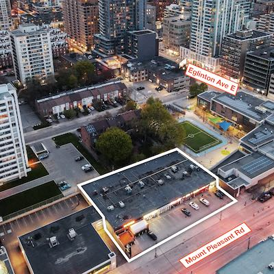 IMAGE: A midtown Toronto plaza at 744-758 Mount Pleasant Rd. has been acquired by BAZIS. The firm plans a mixed-use residential tower redevelopment. (Courtesy Lennard Commercial Realty)