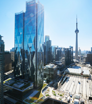 IMAGE: The CIBC SQUARE two-tower development in downtown Toronto. (Courtesy Ivanhoé Cambridge / Sierra Curtis)
